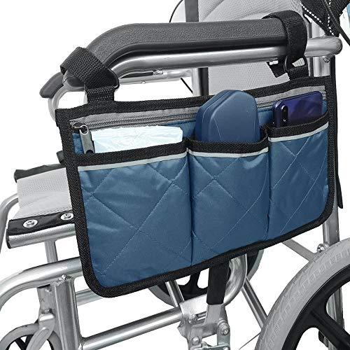 KOMANIC Rollstuhltasche, Mobilitätshilfe, Rollstuhl-Zubehörtasche, seitliche Mobilitätshilfe, hängende Griffhalterung, Aufbewahrungstasche (dunkelblau)