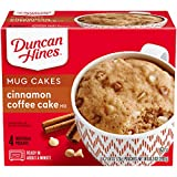 Four 2.58 oz pouches of Duncan Hines Mug Cakes Cinnamon Coffee Cake Mix Offers a convenient single-serving dessert or breakfast Cinnamon flavor adds to the deliciousness of the single serving cake mix Mix and microwave the coffee cake in the same mug...