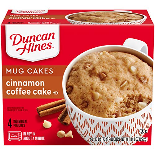 Duncan Hines Mug Cakes Cinnamon Coffee Cake Mix, 4 - 2.58 OZ Pouches