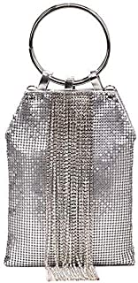 Luxurious New Fashion Party Ring Rhinestone Silver Sequin Tassel Chain Dinner Clutch Black,Colour Name:Silver (Color : Sil...