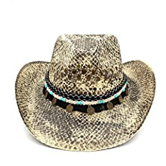 Western Cowboy Jazz Caps Shade your face and eyes from harmful sun UV rays with this convenient, travel-friendly visor hat The beach hat is very durable and fashionable. The sun hats are An essential accessory for your Outdoor Travel/Holiday/Beach pl...
