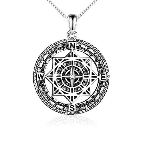 LUHE Compass Necklace Sterling Silver Celtic Knot Necklace Graduation Friendship Talisman Travel Necklace Inspirational Graduation Gift Jewelry Gifts for Women Girls