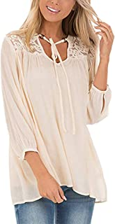 Sandwind Casual Lace Tops for Women Floral Hollow Out Long Sleeve V-Neck Blouse with Buttons Beige S-XXL