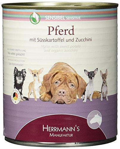 Herrmann Dose Sensibel Pferd Süsskartoffel, Zucchini und Borretschöl, 6er Pack (6 x 800 g)