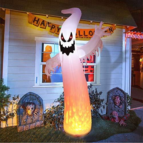 amzdeal Aufblasbarer Geist für Halloween, 3,6 m (12 Fuß), mit beleuchteten echten Flammen und Augen, für drinnen und draußen, Hof, Rasen, Party-Dekoration, inklusive 5 Heringen und 3 Haltegurten
