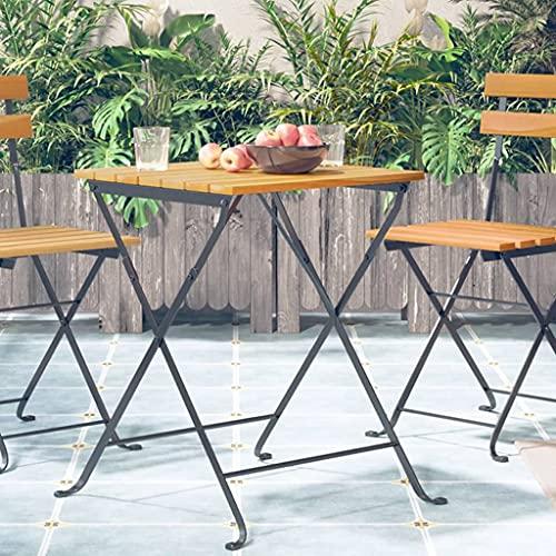 vidaXL Madera Maciza de Acacia Mesa Bistró de Terraza Jardín Patio Balcón Exterior Bar Decoración Muebles Mobiliario Estable Duradera