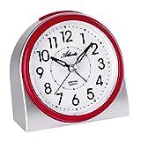 Atlanta 2170/1 - Despertador moderno sin tic-tac, luz, alarma intermitente, cuarzo, color plateado y rojo
