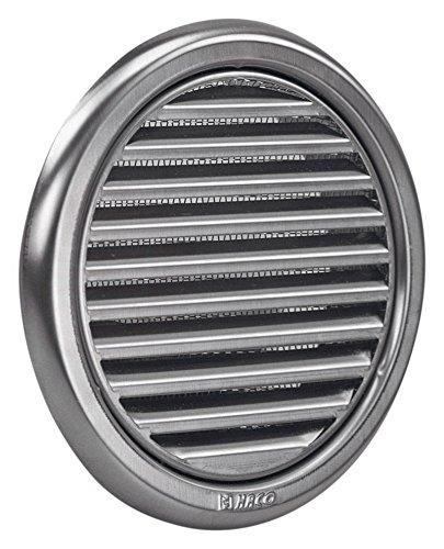 MKK Wetterschutz Lamellen Edelstahl Lüftungsgitter Ø 125 mm Zuluft Abluft rund mit Insektennetz Garage Küche Bad Wand Lufthaube