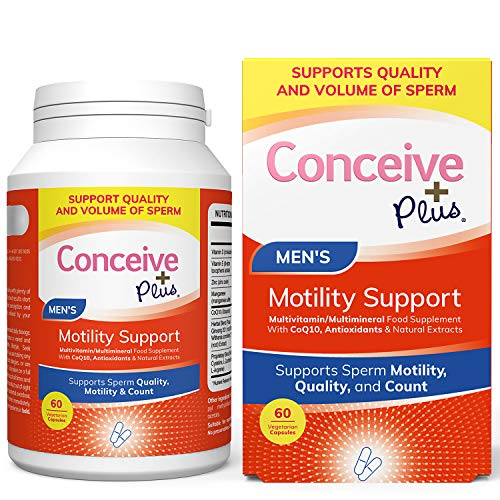Conceive Plus Motility Support - Zinc, Ginseng, Ashwagandha, Q10, Antioxidants - Boost Sperm Count, Quality Sperm Volume, 60 Vegetarian Soft Capsules