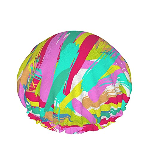 Double Layers Shower Cap,Summer Colorful Travelling Holidays Beach Ball Ice Pineapple,Reusable Waterproof Elastic Bath Caps for All Hair Lengths-style12-1pcs