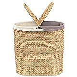 Pure Living - Cesto per la biancheria con coperchio in giacinto d'acqua, intrecciato a mano, naturale, di alta qualità, con 2 scomparti e sacchetti in tessuto antiscivolo, colore naturale