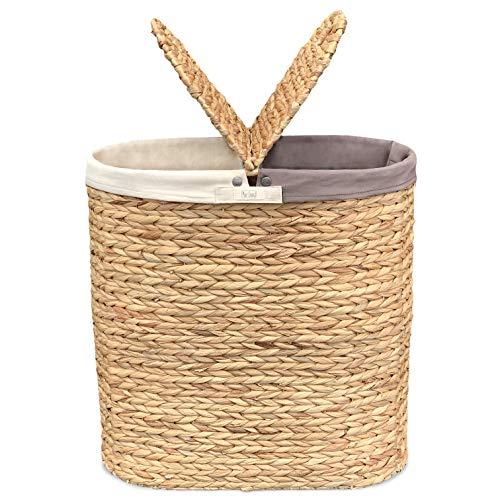 Wäschekorb mit Deckel aus Wasserhyazinthe - Handgeflochten, Natürlich, Plastikfrei, Hochwertig - Wäschetrenner mit 2 Fächern und rutschfesten Stoffbeuteln - Pure Living Wäschesortierer in Naturfarben