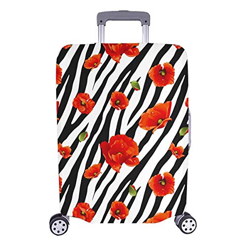 InterestPrint Zebra Skin Print with Poppy Flower Travel Luggage Protector Baggage Suitcase Cover Fits 26'-28' Luggage