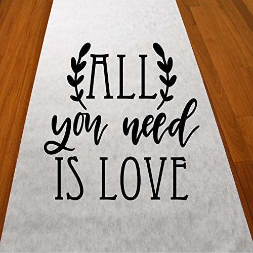 Gifts & Company All You Need is Love Wedding Aisle Runner (75 feet Long) Wedding Ceremony Decor