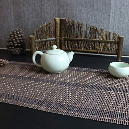 WYJW Tafelloper Hittebestendig Bamboe Tafelloper s voor Eettafel Dagelijks gebruik, Japanse Stijl Handgeweven Roll Placemats (Maat: 90x210cm)