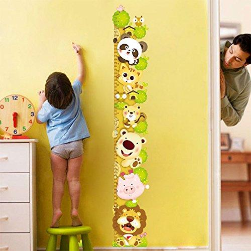 ufengke® Cartone Animato Gatto Leone Panda Adesivi Murali con Metri (0-180 Cm), Camera dei Bambini Vivai Adesivi da...