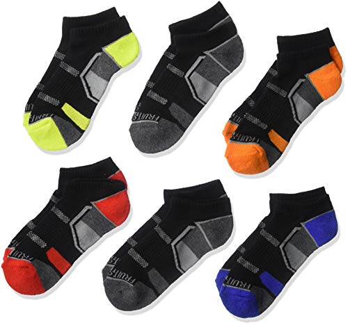 Fruit of the Loom Boys' Everyday Active Cushioned No Show Socks 6 Pair, black Assorted, Shoe Size: 3-9