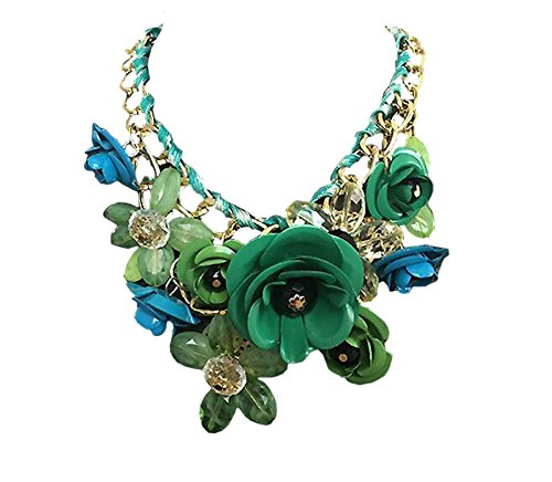 DELEY las Mujeres de la Flor del Encanto de Cristal Grueso de la Cadena de Babero Declaración Gargantilla Collar Collar Verde