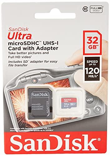 SanDisk Ultra 32 GB Tarjeta de Memoria microSDHC con Adaptador SD, hasta 120 MB/s, Rendimiento de apps A1, Clase 10, UHS-I