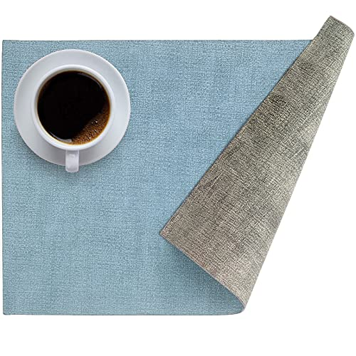 Leather Heat Resistant Placemats for Dining Table, Table mats Set of 6, Waterproof PU Kitchen Place mats, Soft and Non-Slip LQI (Light Blue + Gray Green)