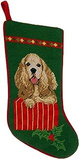 Animal Den Cocker Spaniel Christmas Stocking 100% Needlepoint Hand Stitched Wool