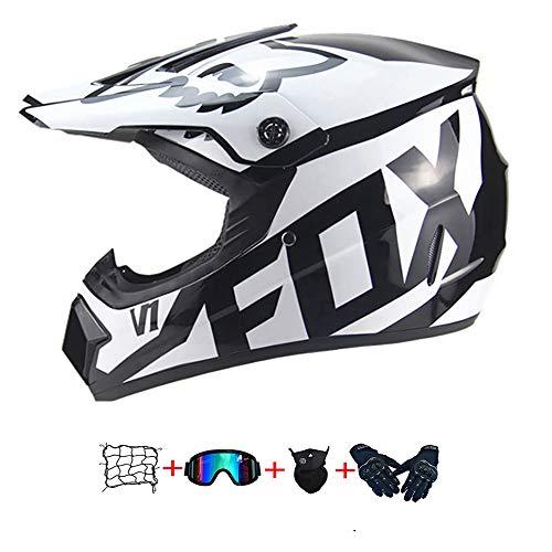 Casco Motocross Niño, ECE Certificación Casco de Moto para niños Downhill.Cascos de Cross de Moto Set con Gafas/Máscara/Red Elástica/Guantes (A, S / 52-53 cm)