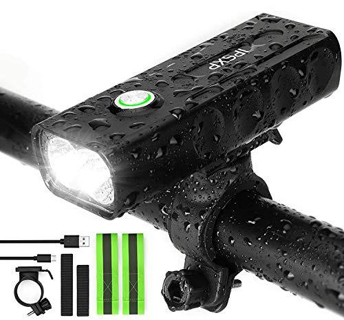 IPSXP 1000 lúmenes Luz Bicicleta, USB Recargable LED Faro Delantero para Bicicleta Alto Brillo 6 Horas Linterna de Seguridad para Ciclismo de montaña con 3 Modos,Impermeable Luces Bicicleta