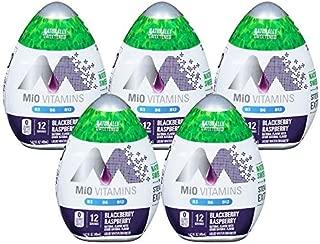 MiO Liquid Water Enhancer - makes 24 servings + Vitamins, 1.62 oz each, (Blackberry Raspberry, Pack of 5)
