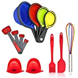 Measuring Cups and Spoons Set incl. Silicone Scraper, Silicone Whisk, Silicone Brush, Silicone Measuring Cups, Silicone Measuring Spoons & 2 Silicone Oven Mitts – Set of 13 – Red