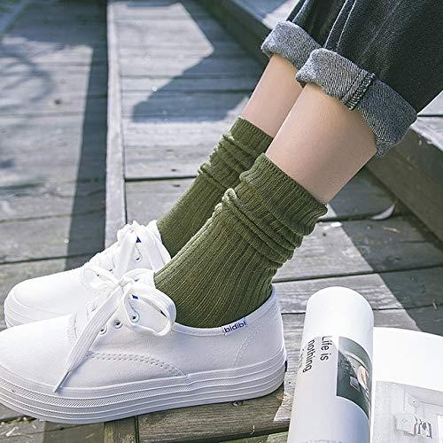 5 Pares/Paquete Calcetines De Algodón para Mujer Color Sólido Estilo Universitario Calcetines De Tubo Mediano para Mujer Verde Militar