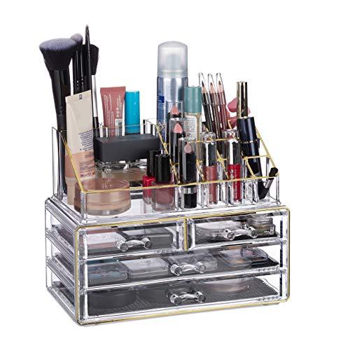 Relaxdays 10023130_1016 Organisateur cosmétiques 2 Parties boîte Rangement Maquillage Make up 12 Porte-Crayons, Dore rayé, Acrylique, doré, 19 x 24 x 13,5 cm