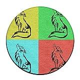 Cool Roaring lobo Clip antideslizante alfombrillas Circular alfombra alfombrillas comedor...
