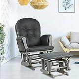 COSTWAY Nursing Glider and Footstool, Reclining Maternity Chair with Storage Pocket, Padded Cushions, Wood Rocking Baby Nursery Furniture (Dark Grey)