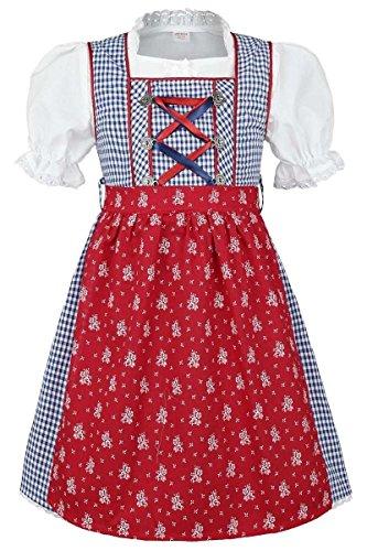 COALA Mädchen Kinderdirndl   3-teiliges Set   mit Dirndl-Bluse und Dirndl-Schürze   blau rot, blau/rot, 98/104