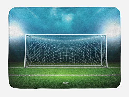 "Ambesonne Soccer Bath Mat, Soccer Goal Post Sports Area Winner Loser Line Floodlit Best Team Finals Game Theme, Plush Bathroom Decor Mat with Non Slip Backing, 29.5"" X 17.5"", Green Blue"