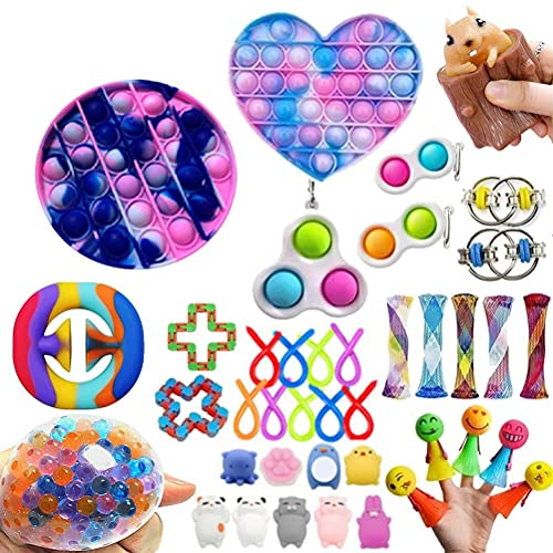 Dan&Dre 40pcs Fidget Toy Pop It Size Fidget Sensory Toy Push Bubble Toy Decompression Toys Set for Children Adults Party Gifts Stress Anxiety Relief Toy
