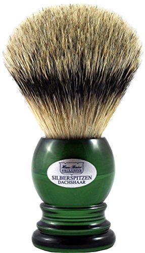 Hans Baier Exclusive Rasierpinsel Echt Silberspitz Dachshaar - Griff english-green Größe 2