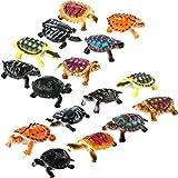 Bememo 16 Pieces Realistic Sea Turtle Lifelike Tortoises Ocean Animal Plastic Small Turtle Figurines for Party Favor Decoration
