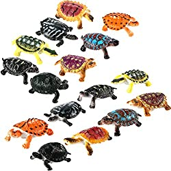 Image: Bememo 16 Pieces Realistic Sea Turtle Lifelike Tortoises Ocean Animal Plastic Small Turtle Figurines for Party Favor Decoration