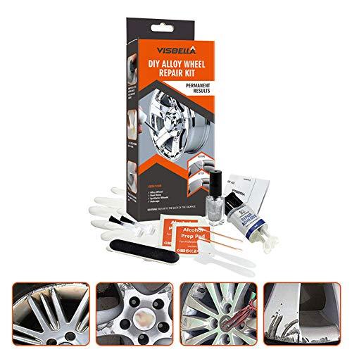 juman634 DIY Kit de Adhesivo de reparación de Llantas de aleación de Bricolaje Herramienta de reparación de Pintura de Plata para el Coche Auto Rim Dent Scratch Care Accesorio