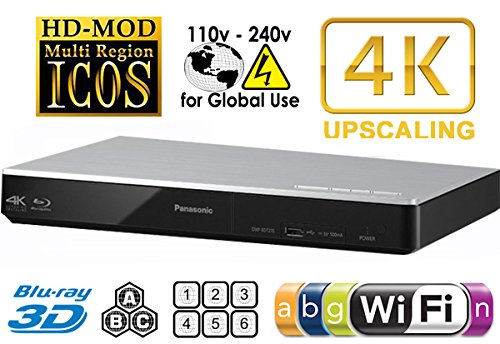 Panasonic Ultra HD 4K Multi Zone Blu Ray ABC and All Region DVD 012345678 Player with Built-in WiFi - 100-240V 50/60Hz World Wide Voltage.