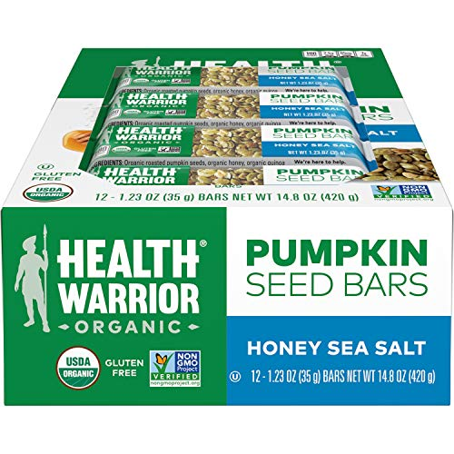Health Warrior Pumpkin Seed Protein Bars, Honey Sea Salt, 8g Plant Protein, Gluten Free, Certified Organic, 12 Count