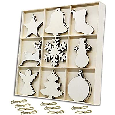27PCS Christmas Wooden Hanging Ornaments w/Storage Tray Kits, Unfinished Blank Wood Cutouts Embellishments (Star,Bell,Stocking,Deer,Snowflake,Snowman,Angel,Tree,Ball) for Xmas Tree Decor,Xmas Gifts