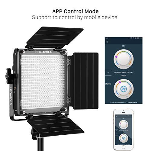 GVM LED-Videoleuchte mit APP-Steuerung, CRI97 Bi Color 2300K-6800K 480 LED Fotoleuchte mit Barndoor und U-Halterung Studioleuchte für YouTube Photography Studio, Videoaufzeichnung,Videolicht