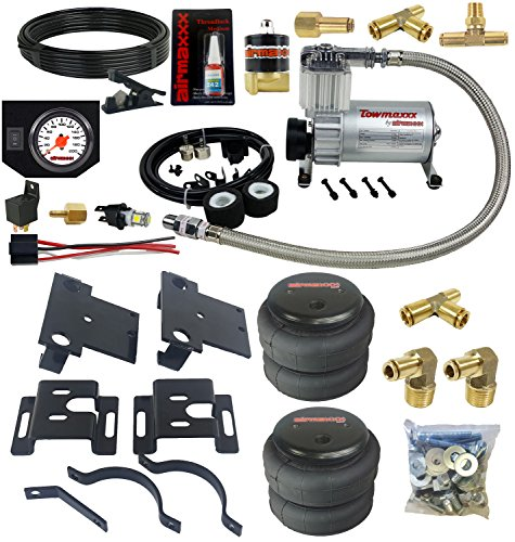 airmaxxx Air Over Load Tow Kit & Compressor with White Air Gauge Fits 2001-10 Chevy 2500 3500 8 Lug Truck