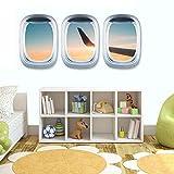 BLOUR 3pcs Landschaft Tapete Flugzeug Wand PVC Aufkleber AufkleberKunst Wandbild Fenster Ansicht Home Decoration Wohnzimmer Wallpaper