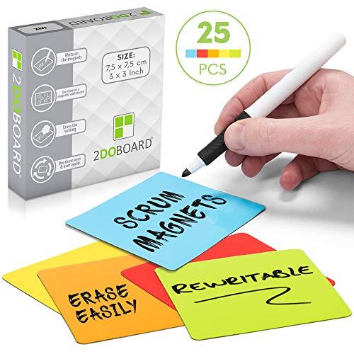 25 Beschreibbare Magnete 7,5 x 7,5 cm für Agile, Scrum, Kanban oder Lean (Mix - 5 Farben))