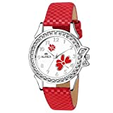 Aurex Analouge White Dial Watch Water Resistant Red Color Strap Watch for Women/Ladies/Girls