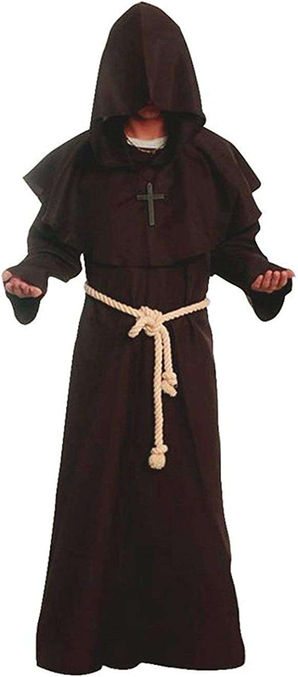 Medieval Renaissance Friar Great interest Cowl Shipping included Costume Monk Hooded Robe