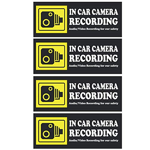 in Car Camera Recording Sticker - Camera Stickers Signs for Rideshare Driver Dashcam in Car Stickers Decals Video Recording Stickers Waterproof Audio Camera Recorded Stickers Window Card Signs